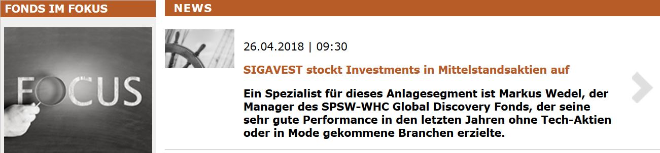 Fundresearch: SIGAVEST stockt Investments in Mittelstandsaktien auf